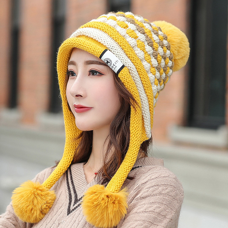 High Quality Beanies Wool Fur Knitted Hat Women Pompoms Skullies Beanies Thick Warm Fleece Lined Winter Hat Earflap Cap