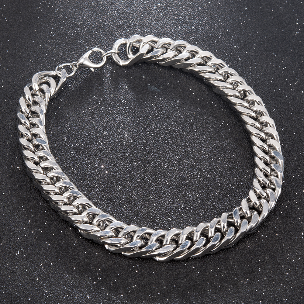 High Quality Men Stainless Steel Chain Link Bracelet  Fashion Hand Chain Bangle  Simple Bracelet Jewelry For Boyfriend Gift