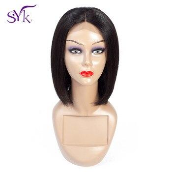 SYK Kurze Bob Perücke Spitze Schließung Menschliches Haar Perücken Brasilianische Gerade Menschliches Haar 4*4 Spitze Größe Bob Perücke für Frauen Nicht Remy Haar Perücke