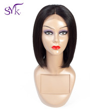 SYK Short Bob Wig Lace Closure Human Hair Wigs Brazilian Straight Human Hair 4*4 Lace Size Bob Wig For Women Non Remy Hair Wig стоимость