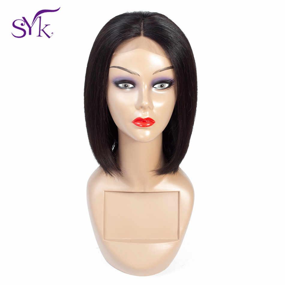 SYK peluca corta de Bob con cierre de encaje pelucas de cabello humano brasileño pelo humano recto 4*4 tamaño de encaje Peluca de Bob para mujeres Peluca de pelo no Remy