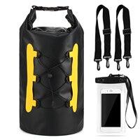 Bolsa seca de PVC de 15L, bolsa impermeable con funda de teléfono, bolsa impermeable para Trekking, natación, a prueba de agua, saco enrollable para pesca y surf