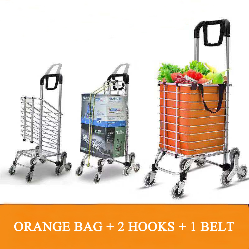 E-FOUR Shopping Cart Stair Climbing Cart Folding Grocery Utility Cart With Rolling Swivel Wheels Updated Lengthen Handle Orange