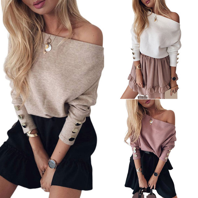 Spring Off Shoulder T-Shirt Tees , Shirts & Tops Women color: Pink|Tawny|White