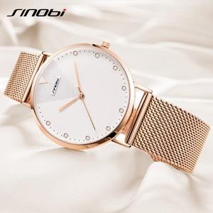 Image 2 - Sinobi ファッションゴールデン女性のダイヤモンド腕時計トップの高級ブランド女性ジュネーブクォーツ時計女性のブレスレット腕時計