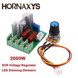 Regulador de voltaje AC 220V SCR, atenuadores LED de atenuación, 2000W, controlador de velocidad del Motor, módulo regulador con potenciómetro