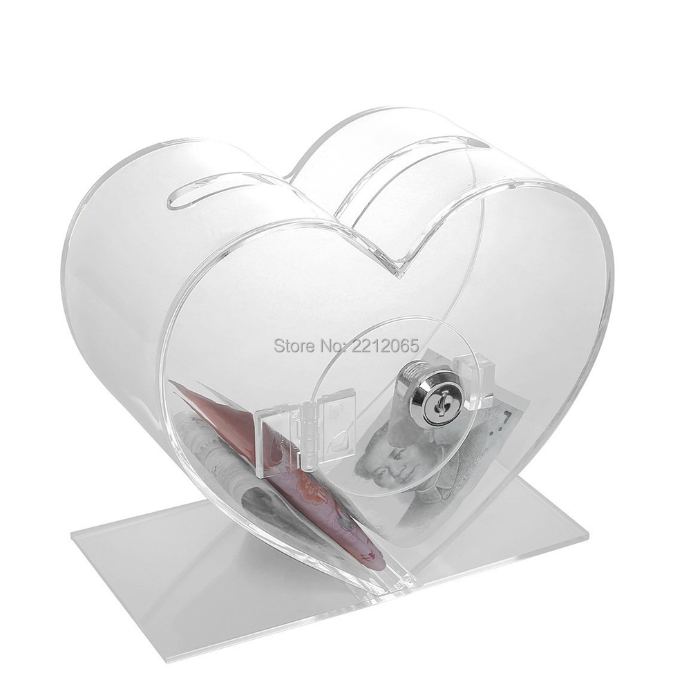 Counter & Desktop Church Heart Acrylic Charity Donation Boxes with Keylock for School,Hospital,Church,Charity etc YGB-005 image