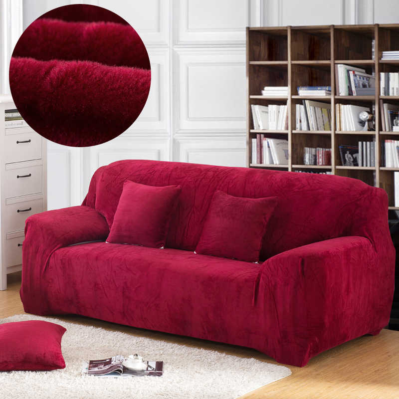 Plush Thick Sofa Cover Elastic for Living Room Couch Cover Velvet Dust-proof for Pets Slipcovers All-inclusive Sectional Sofa