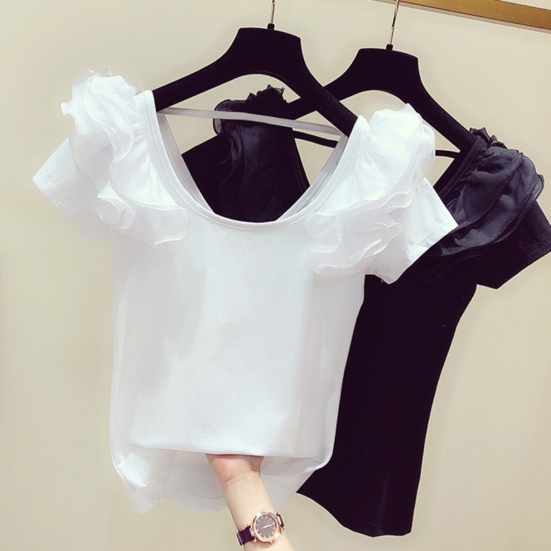 White T-shirt Woman 2020 Spring And Summer New Elegant Solid Color Low Round Neck Short-Sleeve Ruffle T-shirt Women's Casual Tee