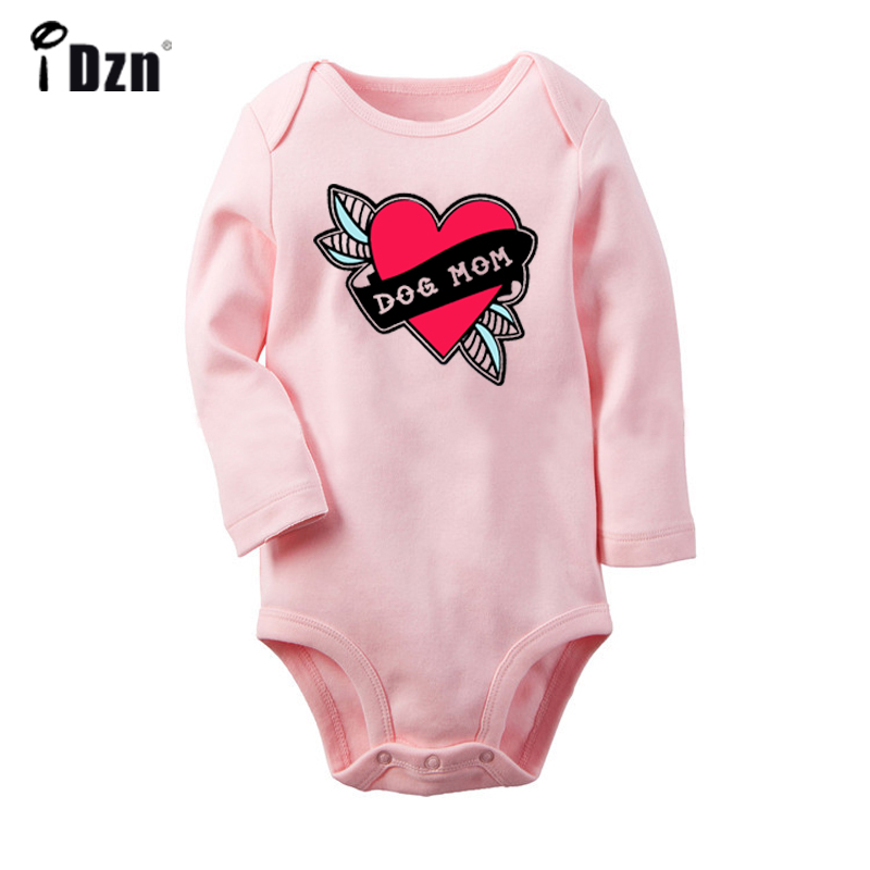 I Love New York Red Heart Dog Mom Love Heart Newborn Baby Bodysuit Toddler Long Sleeve Onesies Jumpsuit Cotton Clothes Gift