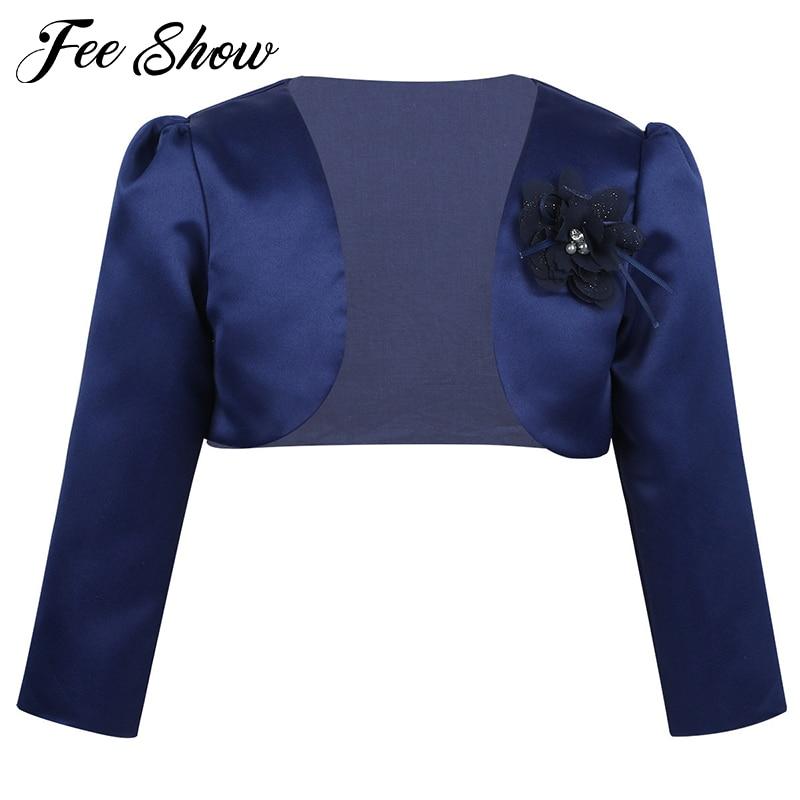 Baby Girls Clothing Kids Girls Long Sleeves Autumn Formal Coats Bolero Jacket Shrug Short Cardigan Sweater Dress Cover Up
