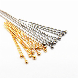 22 25 30mm 316 Stainless Steel Gold Silver Plated Ball Head Pins Findings Jewelry Making 24-Gauge 50PCS/LOT