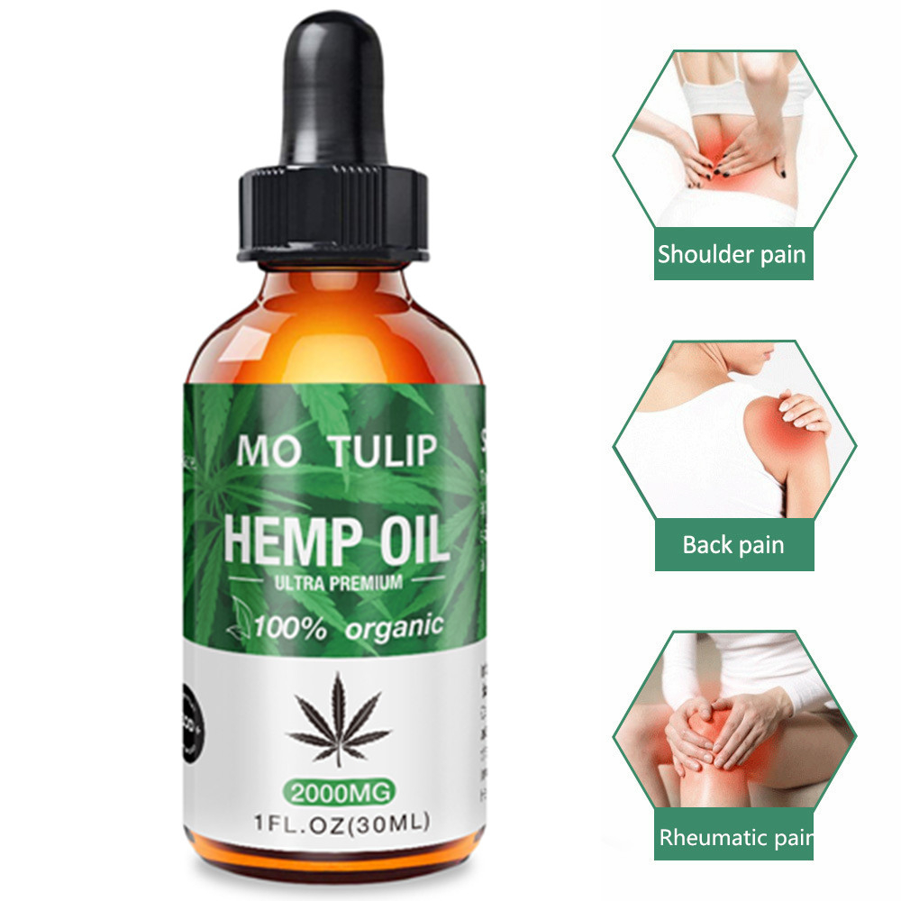 MO TULIP Pure Hemp Oil 100%  Sleep Aid Anti Stress Hemp Extract Drops For Pain Anxiety & Stress Relief 2000mg Essential Cbd Oils