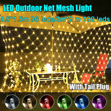 1.5m x 1.5m 3m x 2m LED Net Mesh Fairy String Light 8 modalità ghirlanda tenda per finestra natale fata luce festa di nozze luce per feste