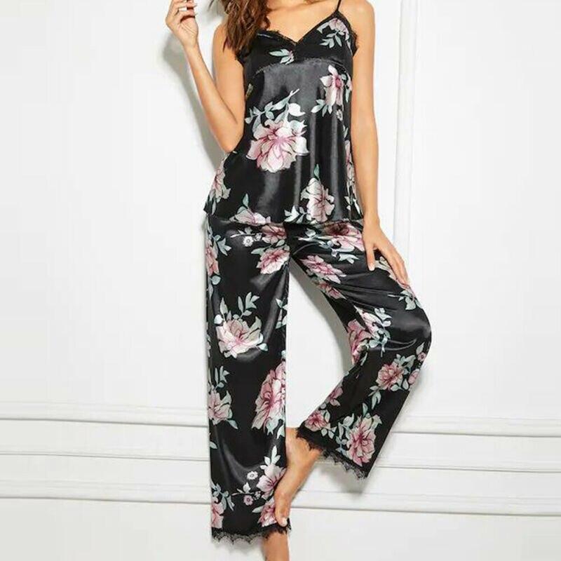 Summer Women Lady Lace Print Silk Satin Pajamas Set Pyjama Sleepwear Nightwear Loungewear Homewear Black Pyjamas Women