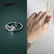 Kinel Water Drops CZ Rings 925 Sterling Silver Rings Woman Jewelry Open Stackable Ring Band Silver 925 bague Fine bijoux kinel bague real pure 925 sterling silver vintage layered rings for woman jewelry wedding finger open ring bijoux femme