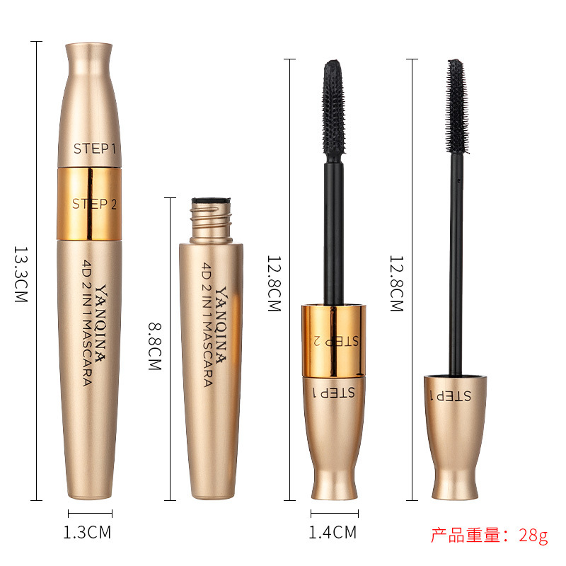 Yan qi na 2in1 Mascara Silica Gel Brush Lengthening Curling Densely Waterproof Cool Black Eyelash Growth Solution 8838
