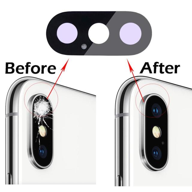 2PCS/SET Rear Camera Glass Lens Cover Replacement for iPhone X