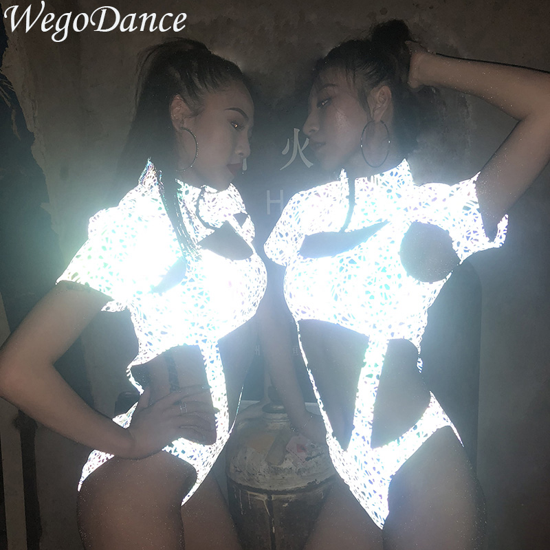 Sexy Women Bar Ds Costumes New Nightclub Dj Female Singer Gogo Collar Dance Costume Hiphop Luminous Light Night Stage Costume