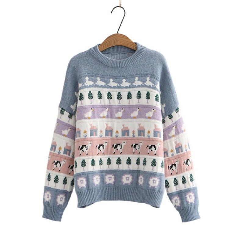 Suéter Kawaii holgado de manga larga para mujer, ropa Harajuku con estampado de Animal Mbroidery, Jersey de punto de Estilo Dulce, 2020