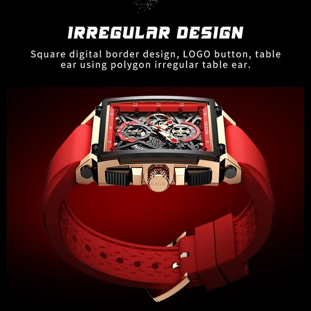LIGE 2021 Men Watch Top Brand Luxury Waterproof Quartz Square Wrist Watches for Men Date Sports Silicone Clock Male Montre Homme 4