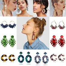 New Bohemian Monstera Leaf Dangle Earring For Women Acrylic Resin Statement Tropical Plant Jewelry Acetate Brincos Lover Gifts