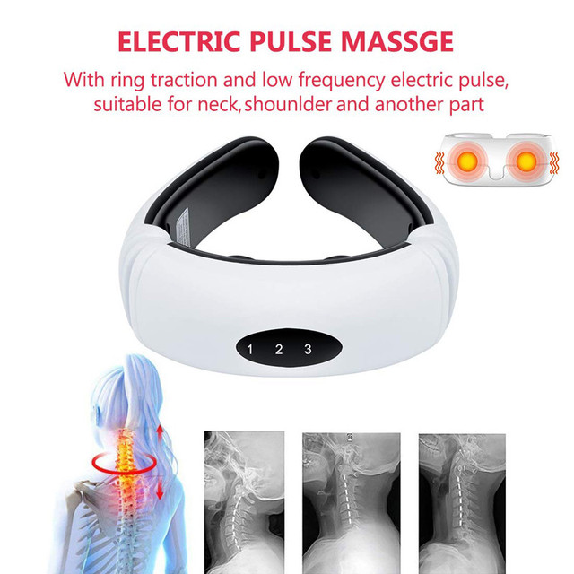 Electric pulse back and neck massager far infrared heating pain relief tool healthcare relaxation 1