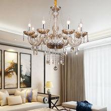 цена на Honhill Modern Chandelier Ceiling Pendant Lamp 8 Arms K5 Crystal Glass Lights Cognac Color E14 220V