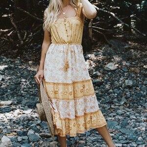 Image 5 - Vintage Chicผู้หญิงดอกไม้พิมพ์ชายหาดโบฮีเมียนStrapless Midiชุดสุภาพสตรีฤดูร้อนเรยอนBoho Vestidos