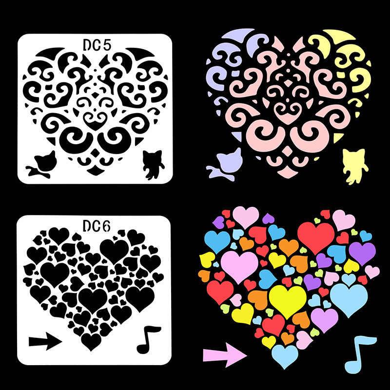 Flower Heart Plastic Stencil Diy Scrapbooking Crafts Paper Paint Cards Crafts