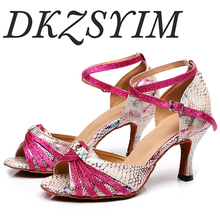 DKZSYIM Hot selling ladies party dance shoes PU + sequins soft bottom Latin dance shoes ladies salsa dance shoes heel 6CM-10CM free shipping suphini customized salsa dance shoes special lady ballroom latin dance shoes