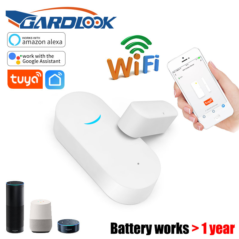 Tuya Smart WiFi Door Sensor Door Open Closed Detectors WiFi App Notification Google Home Alexa Power Saving Battery Work 1 Year