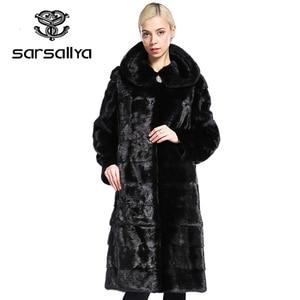 Image 1 - SARSALLYA Real Fur Style Fashion Fur Coat Genuine Leather Mandarin Collar Good Quality Mink Fur Coat Women Natural Black Coats