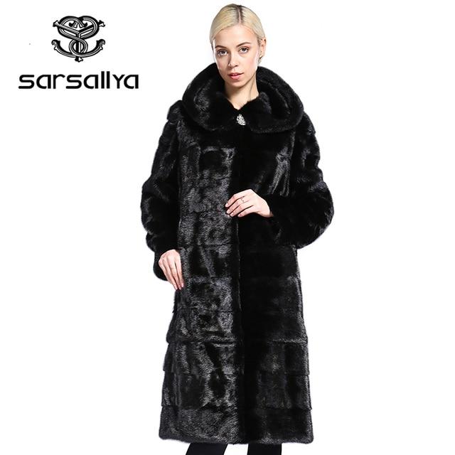 SARSALLYA Real Fur Style Fashion Fur Coat Genuine Leather Mandarin Collar Good Quality Mink Fur Coat Women Natural Black Coats