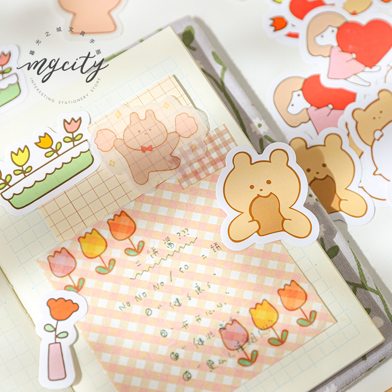 60pcs/lot Stationery Stickers Play Paper House Diary Decorative Mobile Stickers Scrapbooking DIY Craft Stickers