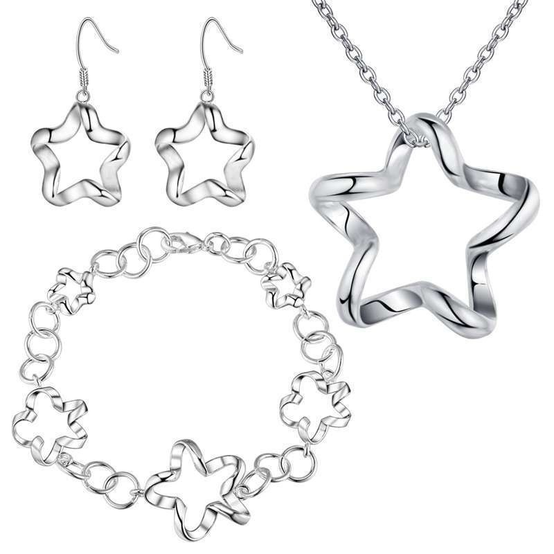 New Fashion 2020 Exquisite Jewelry Silver Plated Ornaments Star Jewelry Flower Five-Star Necklace + Earrings + Bracelet Jewelry