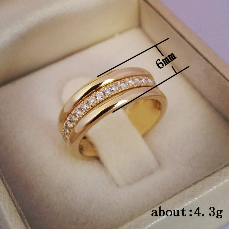 Huitan Classic Wedding Women Ring Simple Finger Rings With Middle Paved CZ Stones Understated Delicate Female Engagement Jewelry