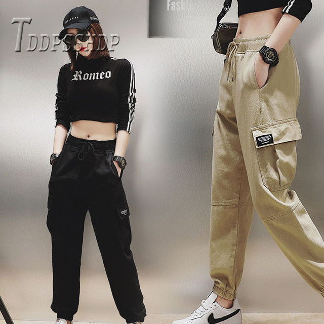 Cotton High Waist Cargo Pants 2019 Spring Pink Khaki Black Female Trousers 44