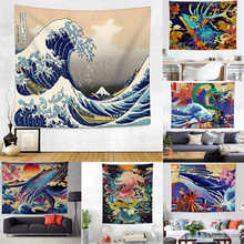 Art Tapestry Blanket Wall-Hanging Beach-Towel Psychedelic Print Yoga Japan Kanagawa Wave