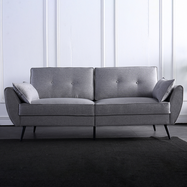 Linen Fabric Sofa Simple and Stylish Solid Wood Frame 3 Seat High Resilience Sponge Gray Indoor Furniture[US-Stock] 6