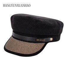 цена на Flat Top Military Hat For Women Vintage British Pu Leather Chain Shinning Brim Beret Autumn Black Military Cap Casual 2019
