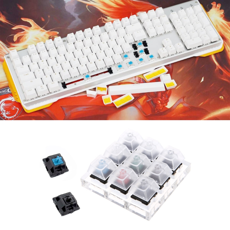 <font><b>Mechanical</b></font> <font><b>Keyboard</b></font> Switches 9 Cherry MX <font><b>Keyboard</b></font> <font><b>Tester</b></font> Kit Keycaps Testing Tool image
