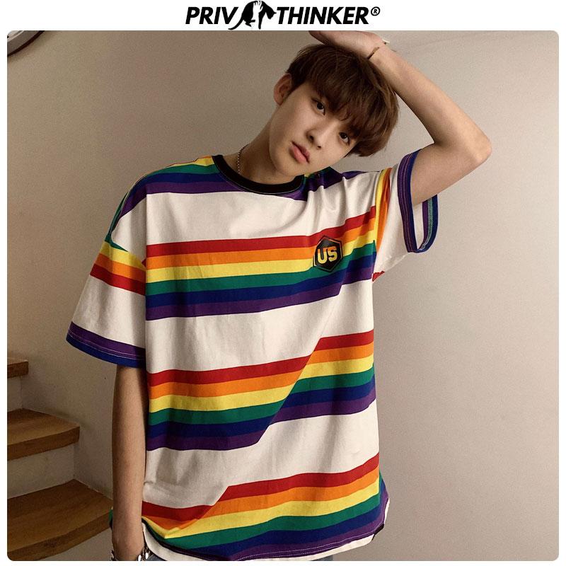 Privathinker 2020 O-Neck Rainbow Tshirt For Mens Summer Harajuku Unisex T-Shirt Male Casual Colorful Men Funny T-shirts Clothing