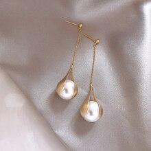 2020 New Arrival Metal Trendy Water Drop Women Dangle Earrings Long Tassel French Elegant Pearl Female Jewelry