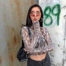 Casual Green Snake Print T Shirt Women Mesh Top Long Sleeve Transparent Snakeskin Female T-shirt High Neck Crop Tops