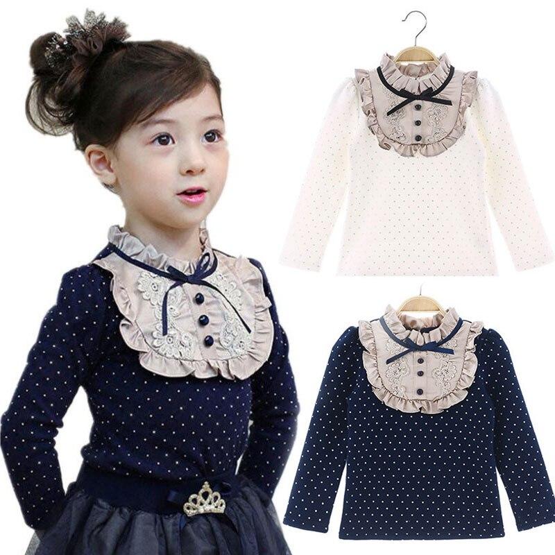 Lememogo Kids Blouse For Girl Shirts Lace Dot Long Sleeve Girls School Blouses Tops Autumn Flower Cotton Children Clothes 3-10Y