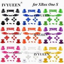IVYUEEN Juego de botones de disparo RT LT para Microsoft Xbox One S, 10 colores, sólido RB LB Bumper, controlador Delgado, barra analógica Dpad