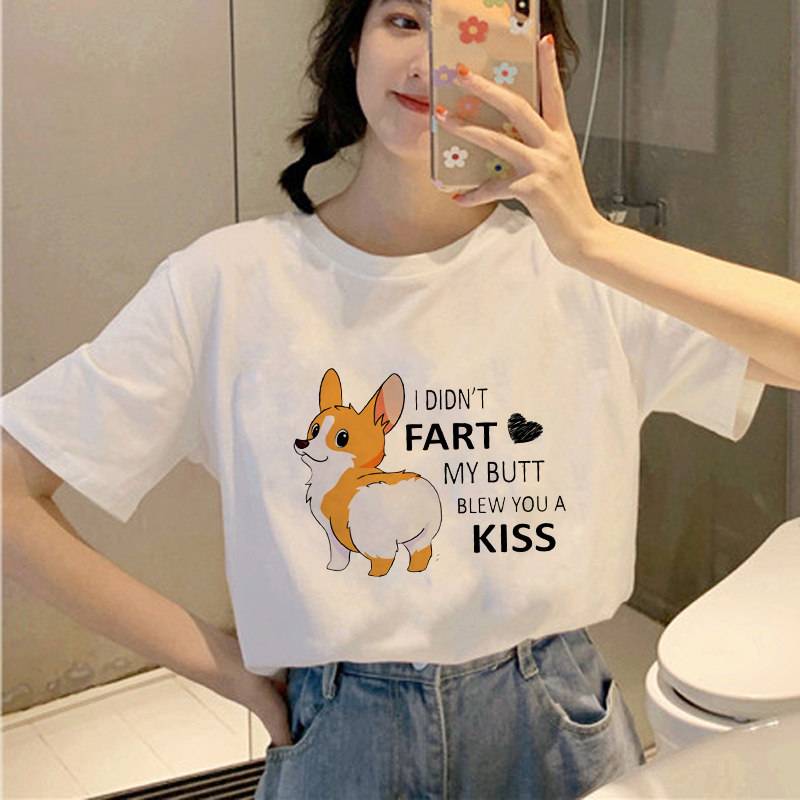 Showtly  Puppy Corgi Buffs Women Tops Clothing T-Shirts I Didn't Fart My Butt Blew You A Kiss Streetwear  Casual Short Sleeve