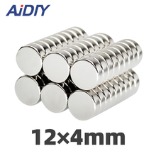 AI DIY 5/10Pcs N35 12 x 4mm Neodymium Magnet Sheet Super Strong Round Rare Earth Magnets Set For Fridge Crafts Disc 12 * 4mm 18 10row 4mm orange round coral necklace magnet clasp