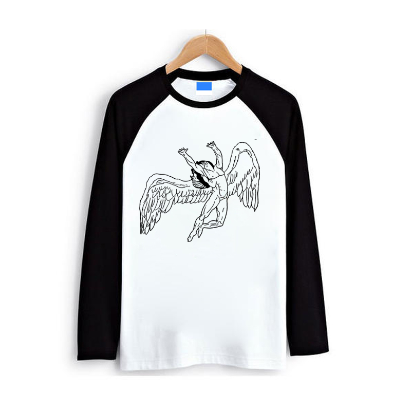 black and white sketch swan song to heaven rock n roll vintage print men women t shirt raglan full long sleeves O neck tee tops image